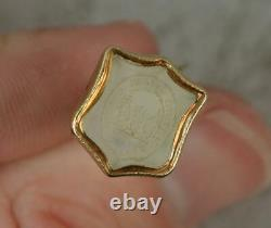 Victorian Gold Fill Chalcedony Agate Family Crest Intaglio Watch Key Fob t0720