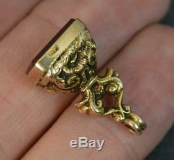 Victorian Hallmarked 9 Carat Gold and Carnelian Fob Seal Pendant t0445