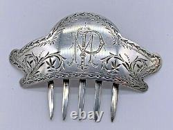 Victorian Highly Embossed Sterling Silver Antique Hair Comb