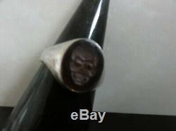 Victorian Intaglio Carnelian Memento Mori Carved Skull Head Ring Solid Silver