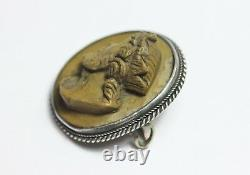 Victorian Lava cameo solid silver brooch crowned male bust Greek mythology