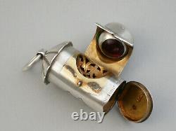 Victorian Novelty Silver Policeman's Bullseye Lantern Vinaigrette, 1872
