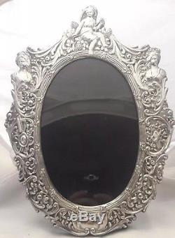 Victorian Ornate Sterling Silver Picture Photo Frame Cherub Figural Repousse