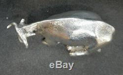 Victorian SOLID Silver COW Butter Dish Finial. London Charles & George Fox c37g