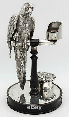 Victorian STERLING SILVER Novelty INKSTAND. PARROT ON PERCH J. C EDINGTON 1852
