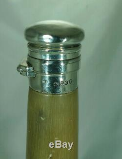 Victorian Silver & Cow Horn Hunting Flask London 1869 25cm A697517