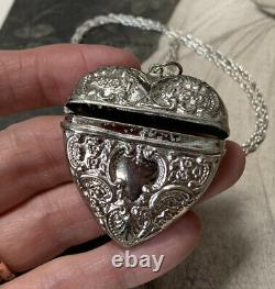 Victorian Silver Locket Pendant Box Necklace and long 64cm Silver Chain 20 grams