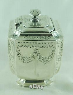 Victorian Silver Tea Caddy Atkin Brothers Sheffield 1895 220g BZX