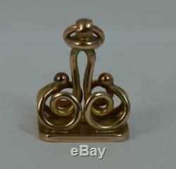 Victorian Solid 9ct Gold MJ Pocket Watch Fob Seal Intaglio Pendant t0415