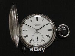 Victorian Solid Silver Half Hunter Pocket Watch by J W Benson, London 1889