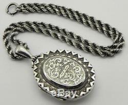 Victorian Solid Silver Locket & Chain, Birmingham 1881
