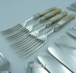 Victorian Solid Silver Mother of Pearl Dessert Cutlery Set 11 Knives 12 Forks