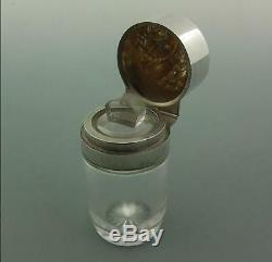 Victorian Solid Silver Owl Topped Smelling Salts Bottle Goldsmiths Silversmiths