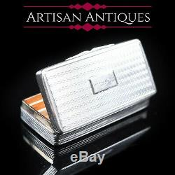 Victorian Solid Silver and Gilt Interior Rectangular Snuff Box by Taylor & Perry
