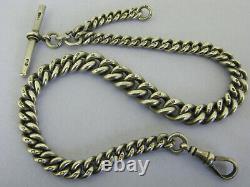 Victorian Solid Sterling Silver Albert Pocket Watch Chain & T-Bar Bir 1892