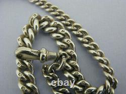 Victorian Solid Sterling Silver Albert Pocket Watch Chain & T-Bar Bir 1896