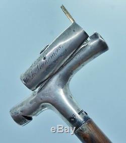 Victorian Sterling Gadget Cane Walking Stick Whistle Match Safe Matchsafe London