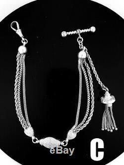 Victorian Sterling Silver Albertina / Albert Watch Chain / Bracelet. NICE1