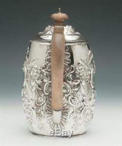 Victorian Sterling Silver Coffee Pot/ Jug, Hand Chased, Birmingham, England 1879