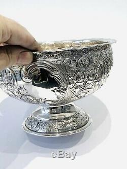 Victorian Sterling Silver Embossed Bowl London 1899