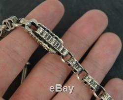 Victorian Sterling Silver Fancy Link Single Albert Pocket Watch Chain