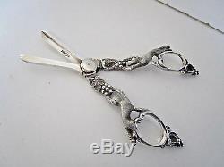 Victorian Sterling Silver Grape Scissors. Figural. Walker & Hall. Sheffield 1898