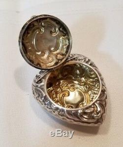 Victorian Sterling Silver Heart Pendant Locket Box 1899