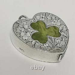 Victorian Sterling Silver Vesta Heart & Agate Shamrock Birmingham 1893 P1127 16