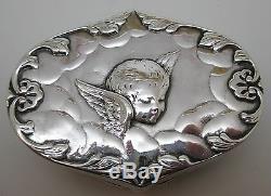 Victorian Sterling WILLIAM COMYNS CHERUB BOX Antique Silver Dresser Trinket