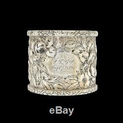 Victorian Tiffany & Co. Repouse Sterling Silver Napkin Ring 1886 Ornate Detail