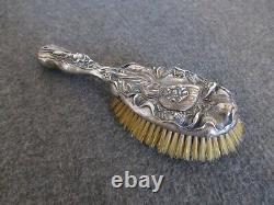 Victorian Unger Brothers Sterling Silver Hair Brush Art Nouveau Lady-no Monogram