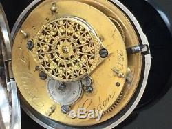 Victorian Verge Fusee Solid Silver Pair Case Pocket Watch 1855 /montre gousset