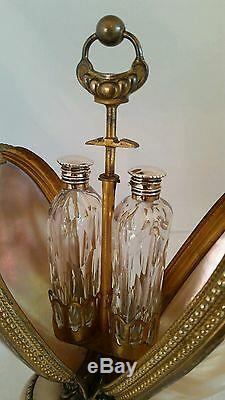 Victorian novelty scent bottle casket/ stand. Green snail shell & ormolu mounts