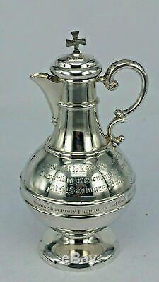 Victorian set silver chalice, paten & flagon communion set 1883 original boxed