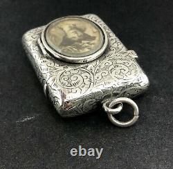 Victorian silver vesta case with photograph frame Birmingham 1894