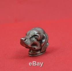 Victorian sterling silver snuff pill box Hunting dog head 1897 G H Johnstone co