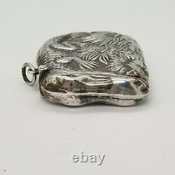 Vintage Alligator Sterling Silver Match Safe Vesta Watch Fob Necklace Pendant