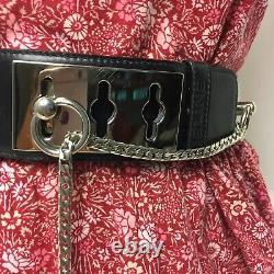 Vintage Celine Toggle Waist Belt Women's Size 80 Leather Wide Black Silver