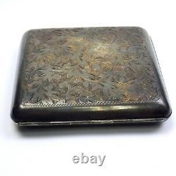 Vintage Cigarette Case Sterling 950 Silver Leaf Pattern Engraving Slide Open