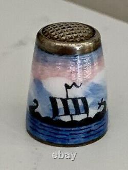 Vintage NORWAY Sterling Silver Enamel Thimble Viking Ships David Andersen RARE