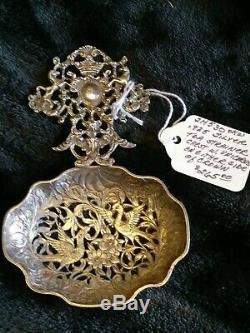 Vintage Victorian Sterling Silver Tea Strainer Stamped B. M. L. 925