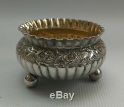 Vtg 1887 Victorian H Bros Solid Sterling Silver Gilt Salt Cellars & Spoons & Box