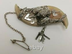 Vtg c1870 Victorian Solid Silver Double Claw Brooch Grouse Tiger Arrow 4 Repair