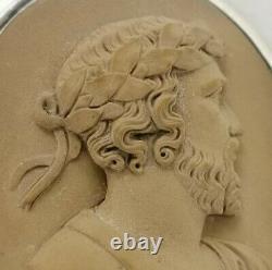 Vtg c1890 Victorian Large 5cm 18g Solid Silver Lava Greek God Zeus Cameo Brooch