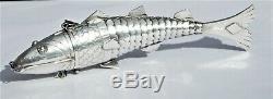 WONDERFUL VICTORIAN SOLID SILVER ARTICULATED FISH SPICE BOX (JUDAICA) c1880