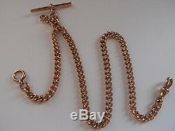 16,75 Antique 1903 Heavy 9ct Médaille D'or Albert Montre Collier De Chaîne De T Bar 52,5 G