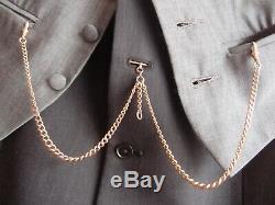 17.5in Victorienne Edwardian 9ct Médaille D'or Albert Chaîne De Montre T Bar Collier 28g