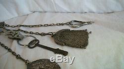 1800 Miroir Couture Châtelaine Clé Acier Antique Porte-sissors Bouton Crochet