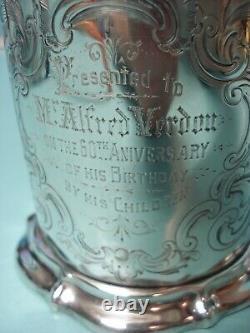 1842 Gravé Victorien Hm Solide Tankard Tasse En Argent Sterling Peut Tasse 422g 14.9oz