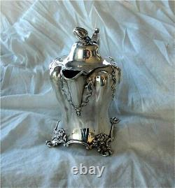 1851 Antique Victorian Sterling Silver Repousse Tea Coffee Chocolate Pot